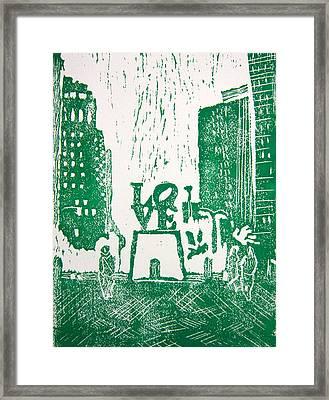 Love Park In Green Framed Print by Marita McVeigh