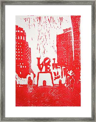 Love Park In Red Framed Print by Marita McVeigh