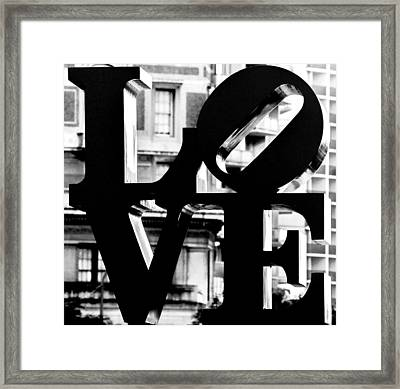 Love Philadelphia Black And White  Framed Print by Terry DeLuco