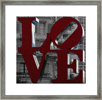 Love Philadelphia Red Mosaic Framed Print