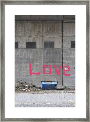 Love - Pink Painting On Grey Wall Framed Print