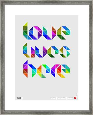 Love Poster 4 Framed Print by Naxart Studio