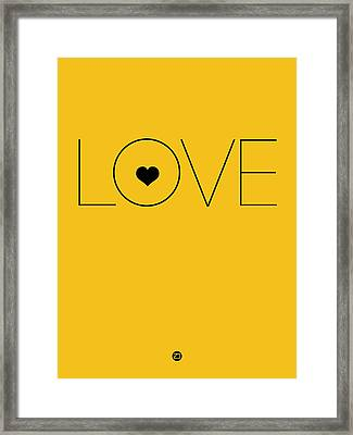 Love Poster Yellow Framed Print by Naxart Studio