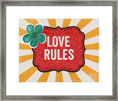 Love Rules Framed Print by Linda Woods