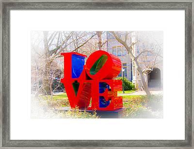 Love Sculpture - Penn Campus Framed Print by Louis Dallara