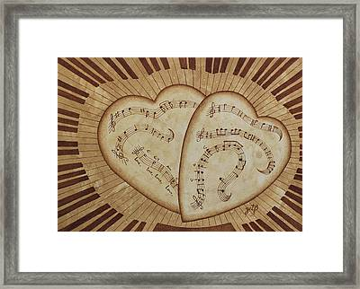 Framed Print featuring the painting Love Song Of Our Hearts by Georgeta Blanaru