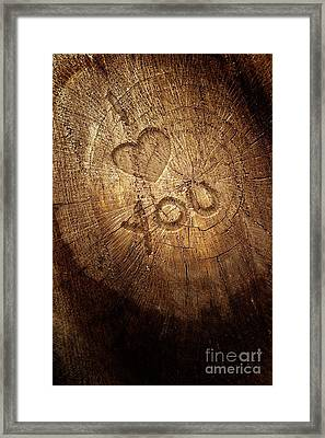 Love Text On  Wooden Background Framed Print by Mythja  Photography