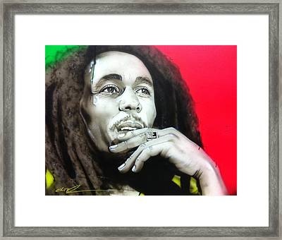 Bob Marley - ' Love The Life You Live - Live The Life You Love ' Framed Print by Christian Chapman Art