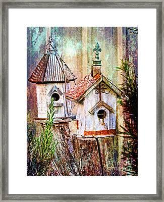 Love Thy Neighbor - Birdhouses Framed Print by Ella Kaye Dickey