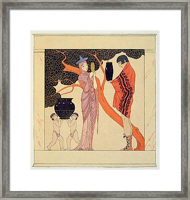 Love Token Framed Print by Georges Barbier