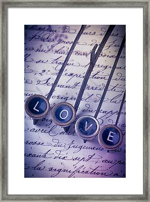 Love Type On Old Letter Framed Print by Garry Gay