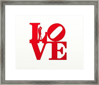 Love Typography - Red On White Framed Print by World Art Prints And Designs