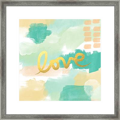 Love With Peach And Mint Framed Print by Linda Woods