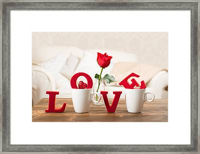 Love With Teacups Framed Print