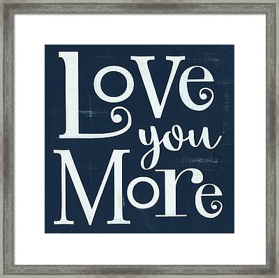 Love You More - Navy Framed Print by Alli Rogosich