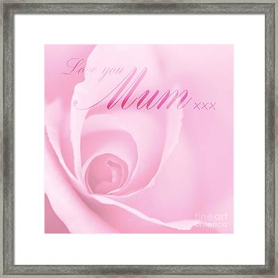 Love You Mum Pink Rose Framed Print by Natalie Kinnear