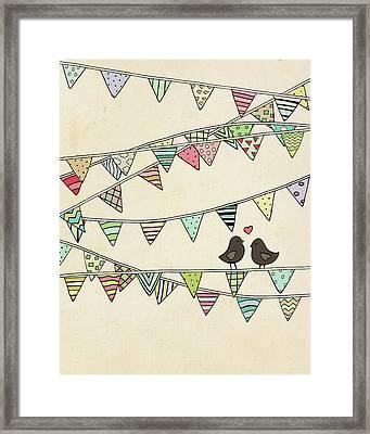 Lovebirds Banner Framed Print