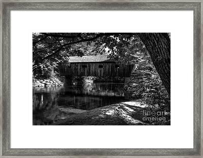Lovejoy Covered Bridge 2bw Framed Print by Mel Steinhauer