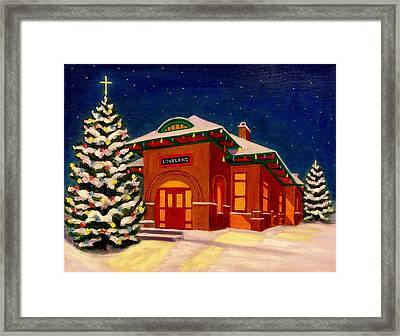 Loveland Depot At Christmas Framed Print