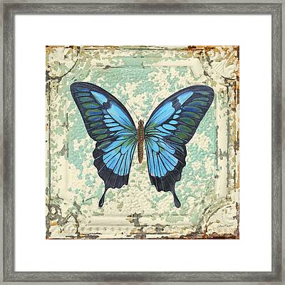 Lovely Blue Butterfly On Tin Tile Framed Print by Jean Plout