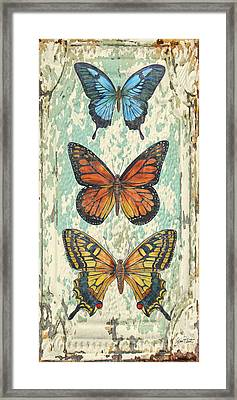 Lovely Butterfly Trio On Tin Tile Framed Print by Jean Plout