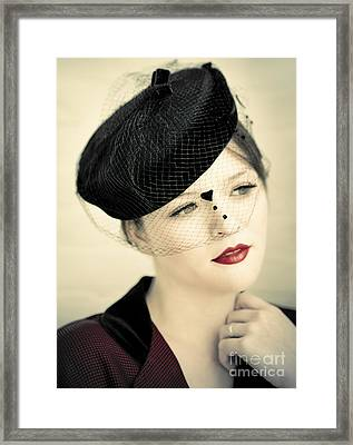 Lovely Lady With Veiled Hat Framed Print