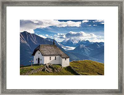 Lovely Little Chapel In The Swiss Alps Framed Print
