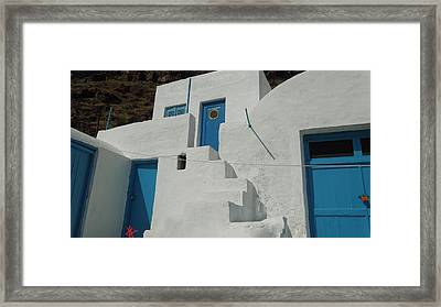 lovely Thirasia Santorini Hause Greece Framed Print