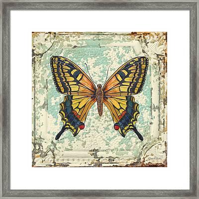 Lovely Yellow Butterfly On Tin Tile Framed Print