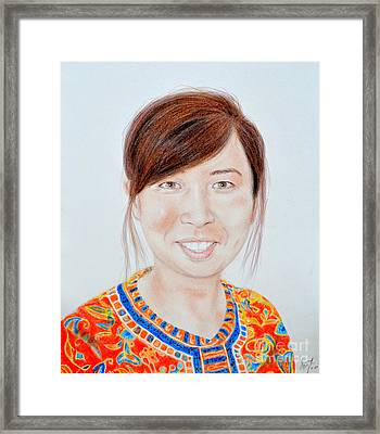 Lovely Young Asian Woman Smiling Framed Print by Jim Fitzpatrick