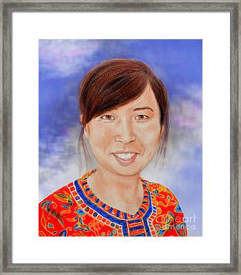Lovely Young Asian Woman Smiling Version II Framed Print by Jim Fitzpatrick
