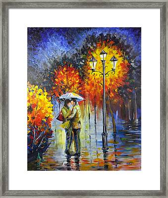 Lovers In The Rain Framed Print by Harry Speese