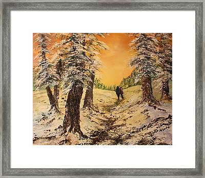 Lovers In The Snow Framed Print