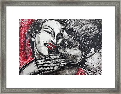 Lovers - Just A Kiss Framed Print by Carmen Tyrrell