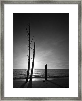 Lovers Key Sunset Black And White One Framed Print