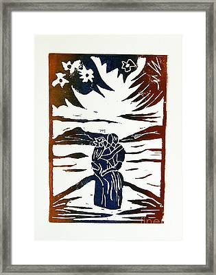 Lovers - Lino Cut A La Gauguin Framed Print