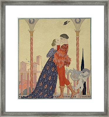 Lovers On A Balcony  Framed Print by Georges Barbier