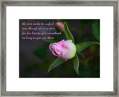 Lover's Quatrain  Framed Print