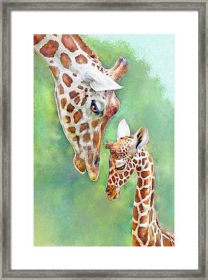 Framed Print featuring the digital art Loving Mother Giraffe2 by Jane Schnetlage
