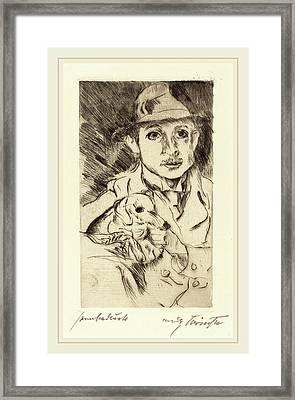 Lovis Corinth, Boy With Dog Knabe Mit Hund Framed Print by Litz Collection