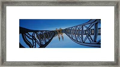 Low Angle View Of A Bridge, Blue Framed Print