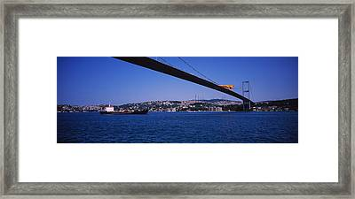 Low Angle View Of A Bridge, Bosphorus Framed Print by Panoramic Images