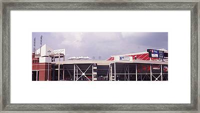 Low Angle View Of A Football Stadium Framed Print