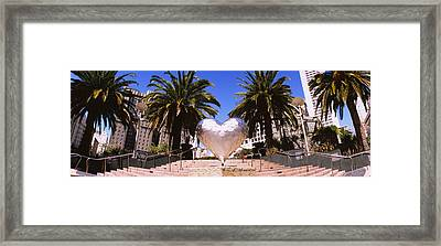 Low Angle View Of A Heart Shape Framed Print