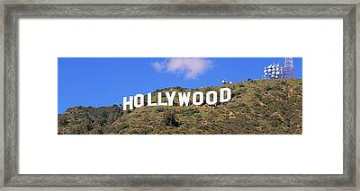 Low Angle View Of A Hollywood Sign Framed Print by Panoramic Images