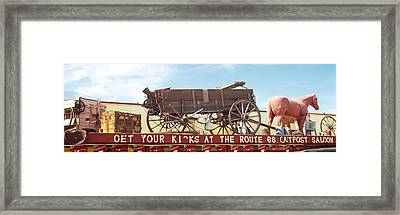 Low Angle View Of A Horse Cart Statue Framed Print by Panoramic Images