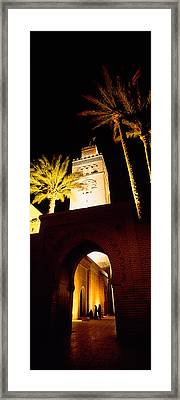 Low Angle View Of A Mosque Lit Framed Print