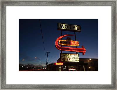 Low Angle View Of A Motel Sign, Route Framed Print by Panoramic Images