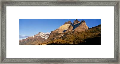 Low Angle View Of A Mountain Range Framed Print
