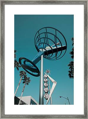 Low Angle View Of A Neon Sign, Fremont Framed Print